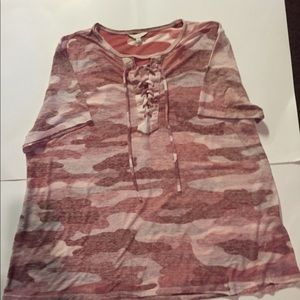 Lucky Brand Womens Lace Up Camo Tee Size XL